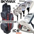 Skymax IX-5 Complete Golfset Heren Staal met Fastfold ZCB Cartbag Grijs/Rood