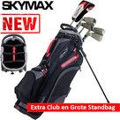 Skymax Ice IX-5 Halve Golfset Heren Graphite met Grote Skymax Standbag Zwart/Rood