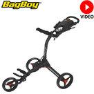 BagBoy Compact 3 Golftrolley, mat zwart/rood