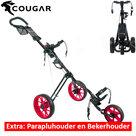 Cougar Trek Golftrolley, zwart/neon rood