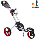 Fastfold 360 Golftrolley, Zilver/Rood
