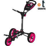 Fastfold Flat Golftrolley, Zwart/Neon Roze
