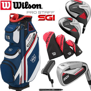 Wilson SGI Prostaff Golfset Heren Graphite & Exo Cart Bag blauw/wit/rood