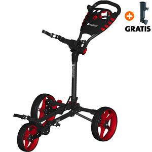 Fastfold Flat Golftrolley, Zwart/Rood