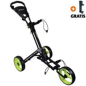 Fastfold Trike 3-Wiel Golftrolley, Mat Zwart/Neon Groen