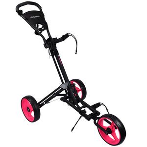 Fastfold Trike 3-Wiel Golftrolley, Mat Zwart/Neon Roze